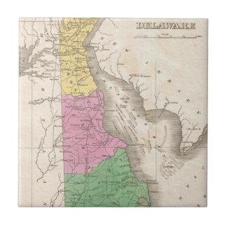 Mapa del vintage de Delaware (1827) Azulejo Cuadrado Pequeño