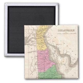 Mapa del vintage de Delaware (1827) Imán Cuadrado