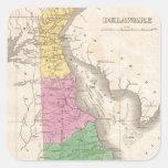 Mapa del vintage de Delaware (1827) Calcomanías Cuadradas Personalizadas