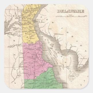 Mapa del vintage de Delaware (1827) Pegatina Cuadrada