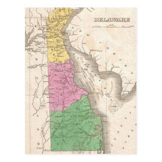 Mapa del vintage de Delaware (1827) Postales