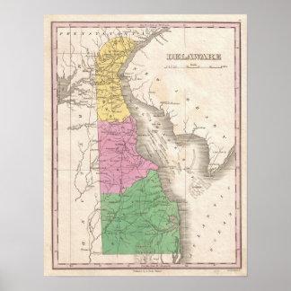 Mapa del vintage de Delaware (1827) Póster