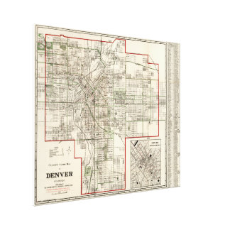 Mapa del vintage de Denver Colorado (1920) Impresión En Lienzo