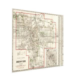 Mapa del vintage de Denver Colorado (1920) Lienzo Envuelto Para Galerías