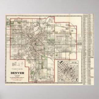 Mapa del vintage de Denver Colorado (1920) Póster