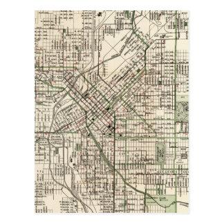 Mapa del vintage de Denver Colorado (1920) Postal