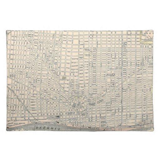 Mapa del vintage de Detroit (1895) Manteles Individuales