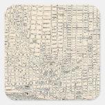 Mapa del vintage de Detroit (1895) Calcomanias Cuadradas