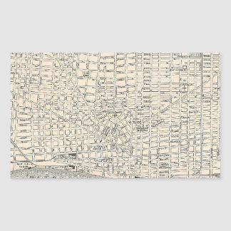 Mapa del vintage de Detroit (1895) Rectangular Pegatinas
