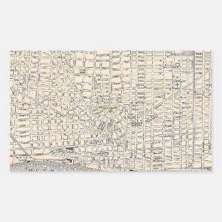 Mapa del vintage de Detroit (1895) Pegatina Rectangular