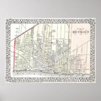 Mapa del vintage de Detroit Michigan (1872) Póster