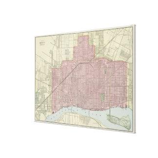Mapa del vintage de Detroit Michigan (1901) Impresión En Lienzo