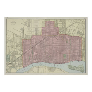 Mapa del vintage de Detroit Michigan (1901) Póster
