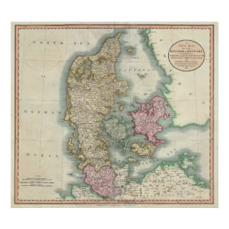 Mapa del vintage de Dinamarca (1801) Posters