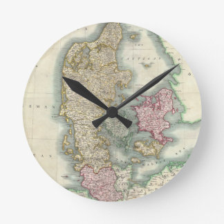 Mapa del vintage de Dinamarca (1801) Relojes De Pared