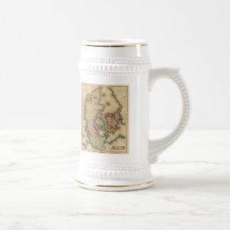 Mapa del vintage de Dinamarca 1831 Tazas De Café