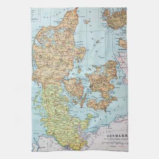Mapa del vintage de Dinamarca (1905) Toallas De Mano