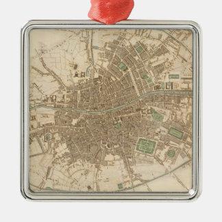 Mapa del vintage de Dublín 1836 Ornamento Para Arbol De Navidad