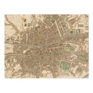 Mapa del vintage de Dublín (1836) Postal