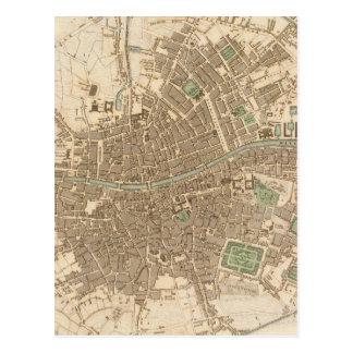Mapa del vintage de Dublín (1836) Tarjetas Postales
