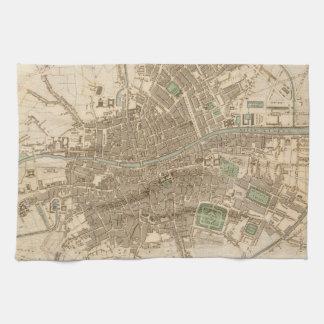 Mapa del vintage de Dublín 1836 Toalla De Cocina