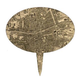 Mapa del vintage de Dublín Irlanda 1797 Palillos De Tarta