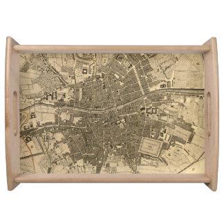 Mapa del vintage de Dublín Irlanda 1797 Bandejas