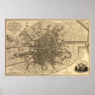 Mapa del vintage de Dublín Irlanda (1797) Posters
