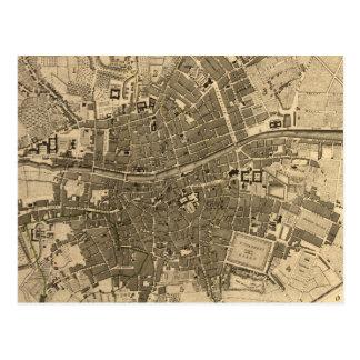 Mapa del vintage de Dublín Irlanda (1797) Postales