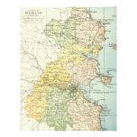 Mapa del vintage de Dublín y de los alrededores (1 Membrete A Diseño