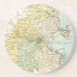 Mapa del vintage de Dublín y de los alrededores (1 Posavasos Personalizados