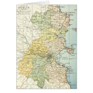 Mapa del vintage de Dublín y de los alrededores (1 Tarjeta De Felicitación