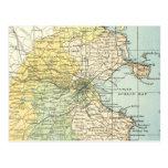 Mapa del vintage de Dublín y de los alrededores (1 Postal