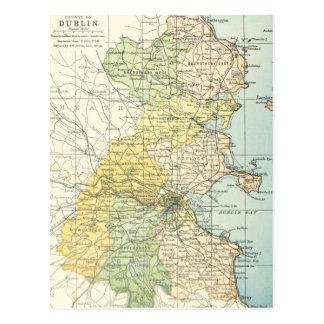 Mapa del vintage de Dublín y de los alrededores Postales