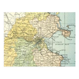 Mapa del vintage de Dublín y de los alrededores Tarjetas Postales