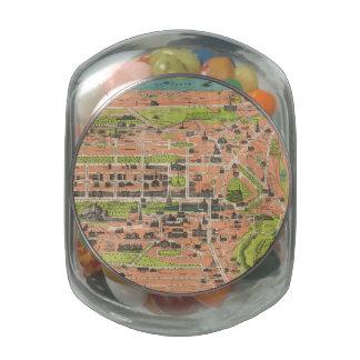 Mapa del vintage de Edimburgo Escocia (1935) Frascos De Cristal Jelly Belly