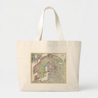 Mapa del vintage de Escandinavia (1730) Bolsas Lienzo