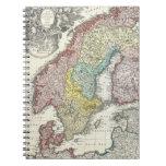 Mapa del vintage de Escandinavia (1730) Libretas Espirales