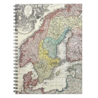 Mapa del vintage de Escandinavia (1730) Libros De Apuntes