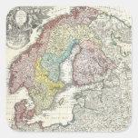 Mapa del vintage de Escandinavia (1730) Pegatinas Cuadradas