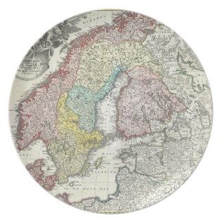 Mapa del vintage de Escandinavia (1730) Plato