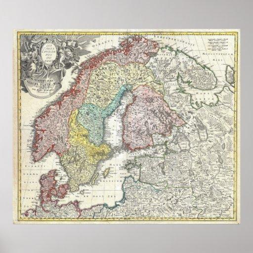 Mapa del vintage de Escandinavia (1730) Posters