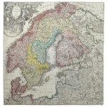 Mapa del vintage de Escandinavia (1730) Servilleta