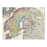 Mapa del vintage de Escandinavia (1730) Tarjetas Postales
