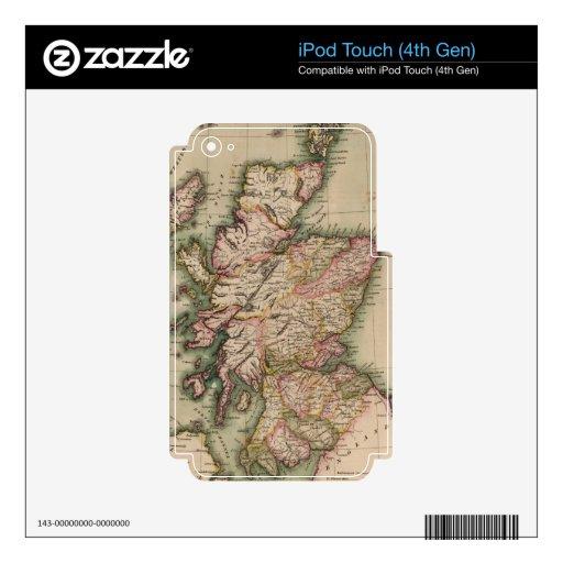 Mapa del vintage de Escocia (1814) Skins Para iPod Touch 4G