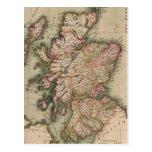 Mapa del vintage de Escocia (1814) Postal