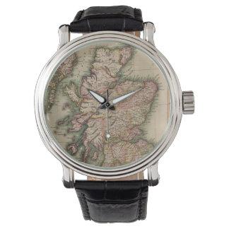 Mapa del vintage de Escocia (1814) Relojes De Pulsera