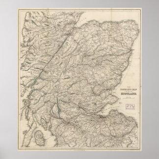 Mapa del vintage de Escocia (1855) Póster