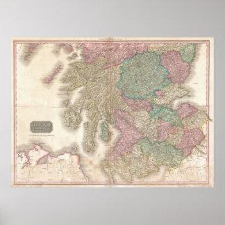 Mapa del vintage de Escocia meridional (1818) Posters