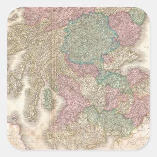 Mapa del vintage de Escocia meridional (1818) Pegatina Cuadradas